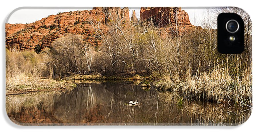 Cathedral Rock IPhone 5 / 5s Case featuring the photograph Cathedral Rock Reflections Landscape by Darcy Michaelchuk