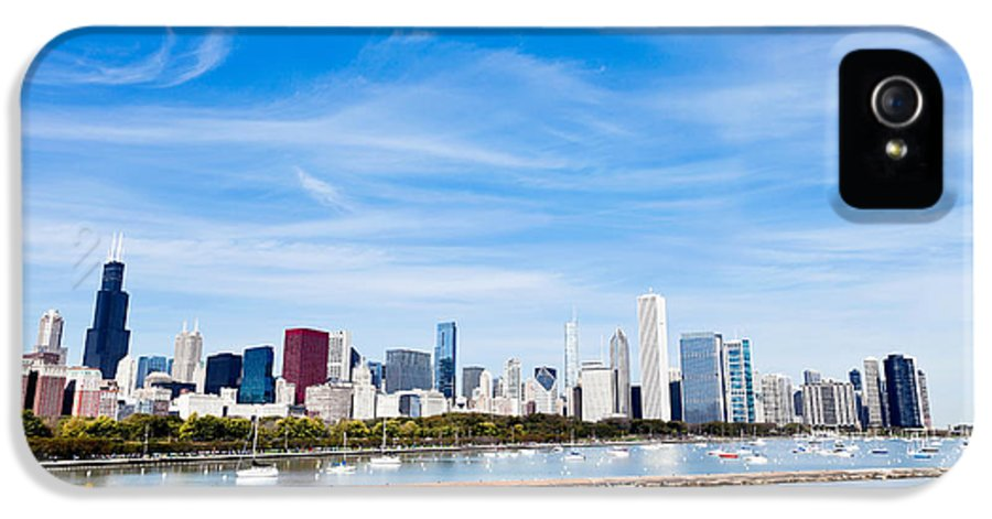 America IPhone 5 / 5s Case featuring the photograph Chicago Lakefront Skyline Wide Angle by Paul Velgos