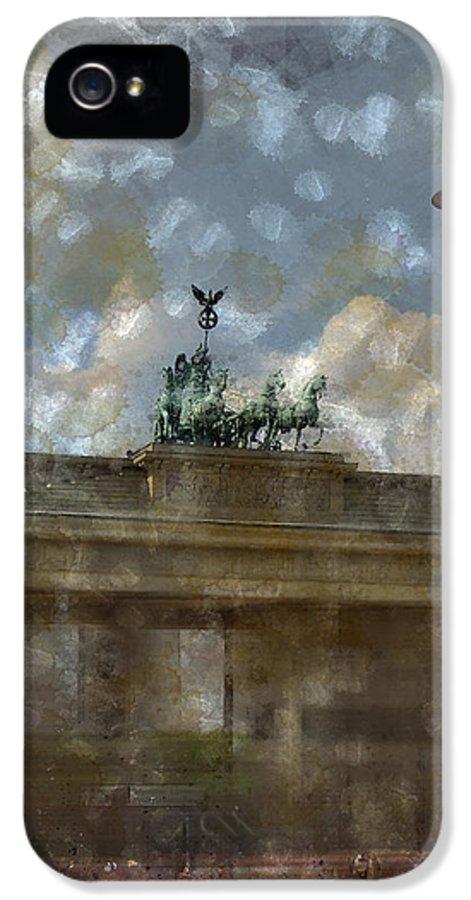 White IPhone 5 / 5s Case featuring the photograph City-art Berlin Brandenburger Tor II by Melanie Viola