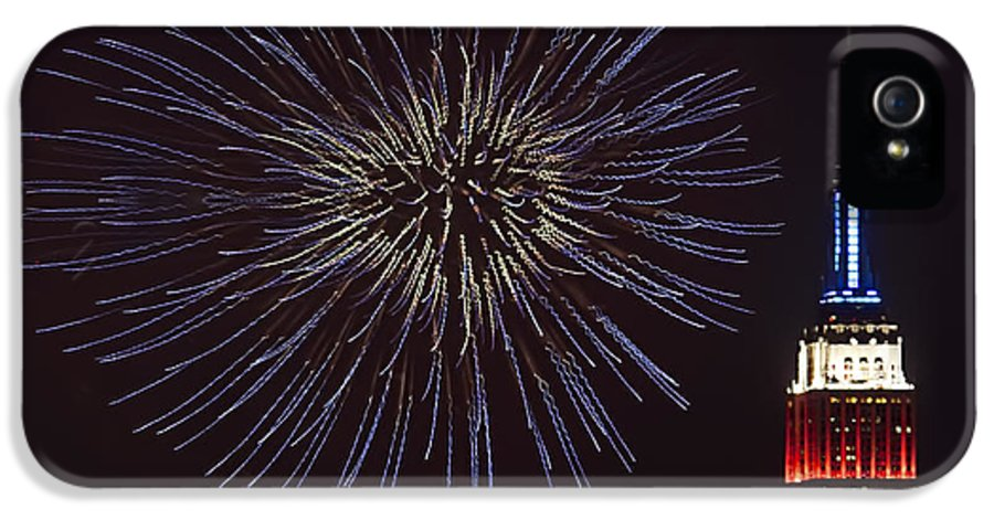 Empire State Building IPhone 5 / 5s Case featuring the photograph Empire State Fireworks by Susan Candelario