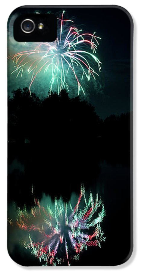 Fireworks IPhone 5 / 5s Case featuring the photograph Fireworks On Golden Ponds. by James BO Insogna