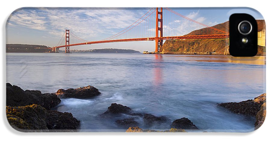 Golden Gate IPhone 5 / 5s Case featuring the photograph Golden Gate At Dawn by Brian Jannsen