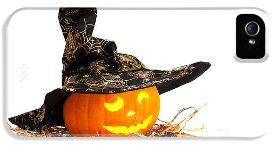 Halloween IPhone 5 / 5s Case featuring the photograph Halloween Pumpkin With Witches Hat by Amanda Elwell