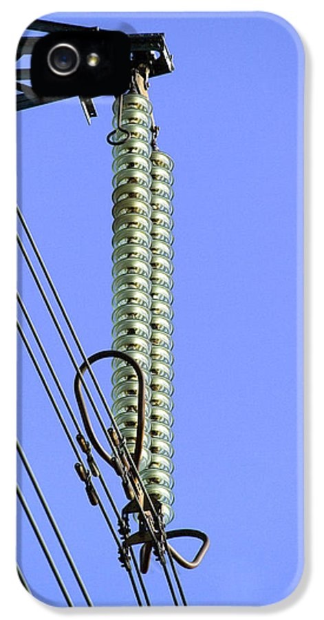 Disc IPhone 5 / 5s Case featuring the photograph Insulators On An Electricity Pylon by Paul Rapson