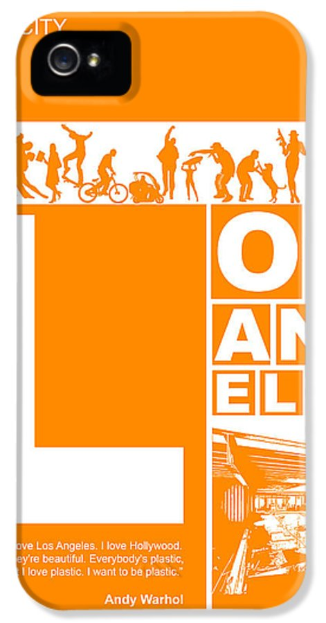 Los Angeles IPhone 5 / 5s Case featuring the digital art La Orange Poster by Naxart Studio