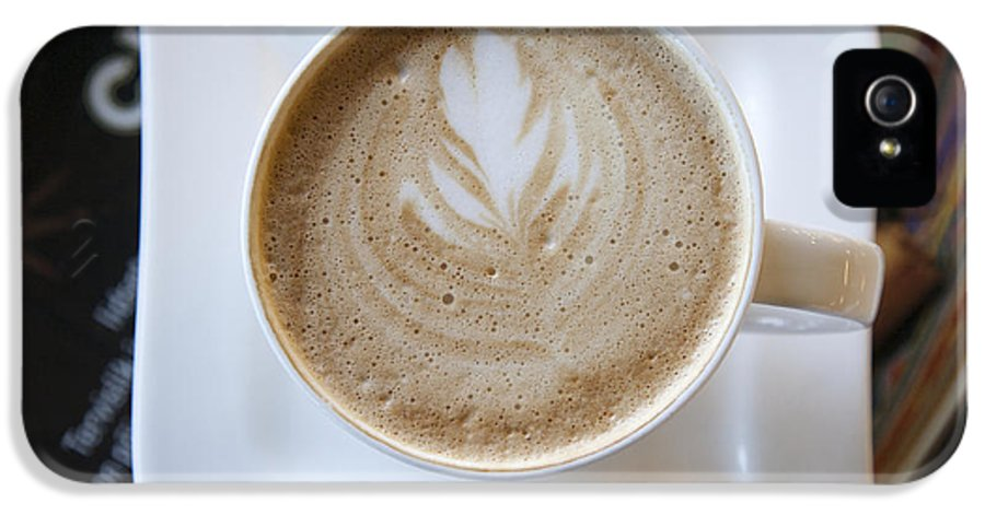 Business IPhone 5 / 5s Case featuring the photograph Latte With A Leaf Design by Jaak Nilson