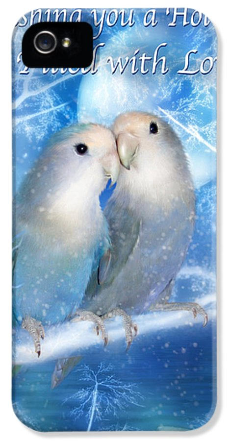 Christmas Card IPhone 5 / 5s Case featuring the mixed media Love At Christmas Card by Carol Cavalaris