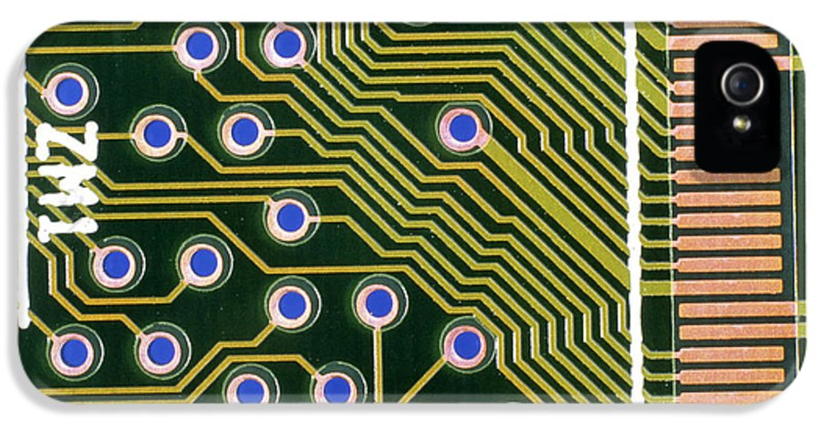 Circuit Board IPhone 5 / 5s Case featuring the photograph Macrophotograph Of Printed Circuit Board by Dr Jeremy Burgess