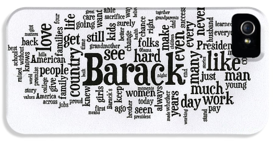 Michelle Obama IPhone 5 / 5s Case featuring the photograph Michelle Obama Wordcloud At D N C by David Bearden