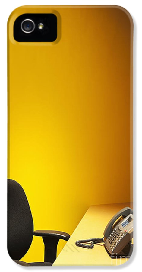 Business IPhone 5 / 5s Case featuring the photograph Office Desk, Phone, And Chair by Jetta Productions, Inc