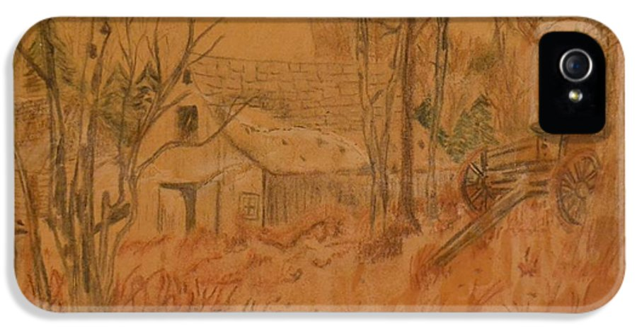 Farm IPhone 5 / 5s Case featuring the drawing Old Farm by Carman Turner