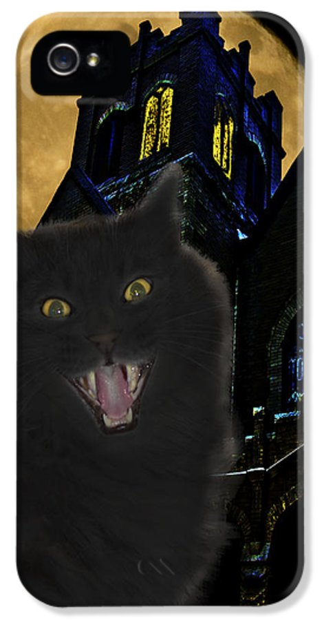Black Cat IPhone 5 / 5s Case featuring the photograph One Dark Halloween Night by Shane Bechler