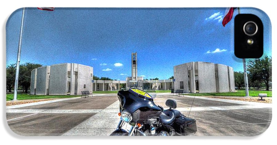 Patriot Guard Rider IPhone 5 / 5s Case featuring the photograph Patriot Guard Rider At The Houston National Cemetery by David Morefield
