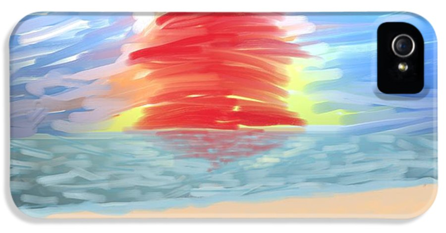 Digital Painting IPhone 5 / 5s Case featuring the photograph Red Sun Setting by Heidi Smith