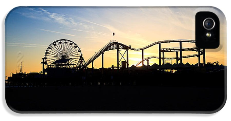 America IPhone 5 / 5s Case featuring the photograph Santa Monica Pier Sunset Photo by Paul Velgos
