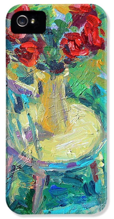 Sunny Impressionistic Painting IPhone 5 / 5s Case featuring the painting Sunny Impressionistic Rose Flowers Still Life Painting by Svetlana Novikova