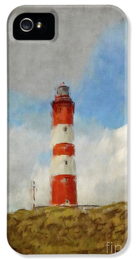 Amrum IPhone 5 / 5s Case featuring the painting The Lighthouse Amrum by Angela Doelling AD DESIGN Photo and PhotoArt