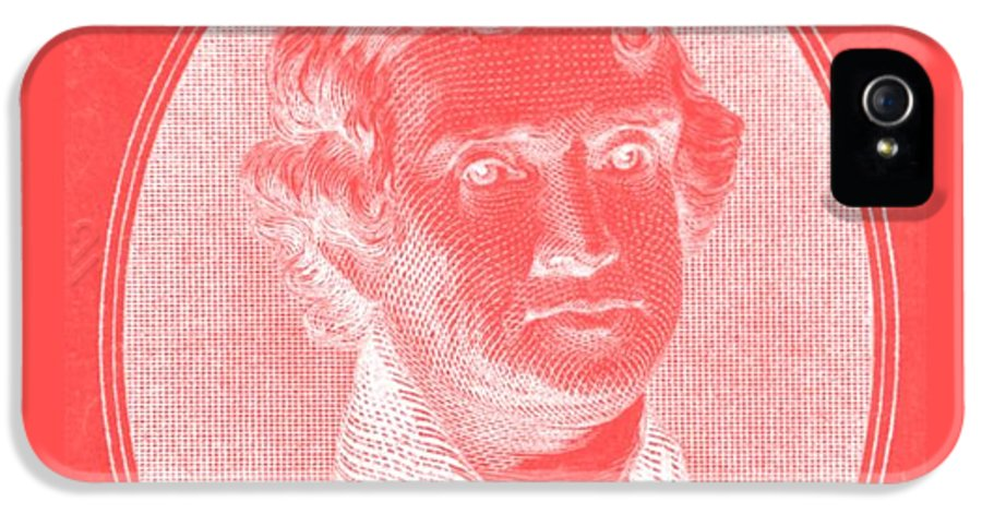 Thomas Jefferson IPhone 5 / 5s Case featuring the photograph Thomas Jefferson In Negative Red by Rob Hans