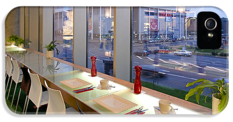 Business IPhone 5 / 5s Case featuring the photograph Window Seating In An Upscale Cafe by Jaak Nilson