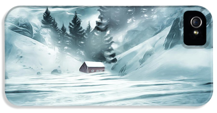 Barn IPhone 5 / 5s Case featuring the digital art Winter Seclusion by Lourry Legarde