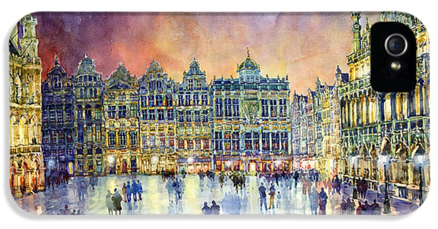Watercolor IPhone 5 / 5s Case featuring the painting Belgium Brussel Grand Place Grote Markt by Yuriy Shevchuk