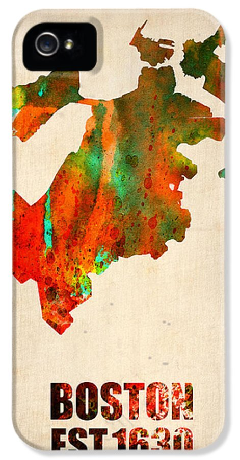 Boston IPhone 5 / 5s Case featuring the mixed media Boston Watercolor Map by Naxart Studio