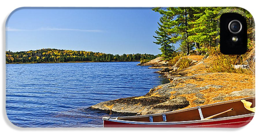 Canoe IPhone 5 / 5s Case featuring the photograph Canoe On Shore by Elena Elisseeva