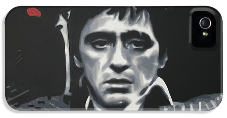 Scarface IPhone 5 / 5s Case featuring the painting Cocaine 2013 by Luis Ludzska