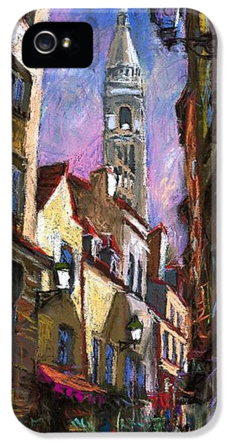 Pastel IPhone 5 / 5s Case featuring the painting Paris Montmartre by Yuriy Shevchuk