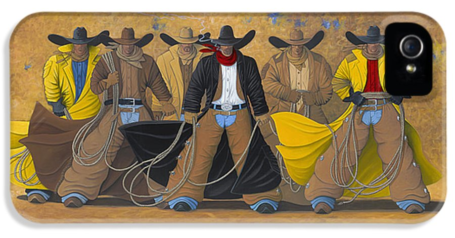 Large Cowboy Painting Of Six Cowboys. IPhone 5 / 5s Case featuring the painting The Posse by Lance Headlee