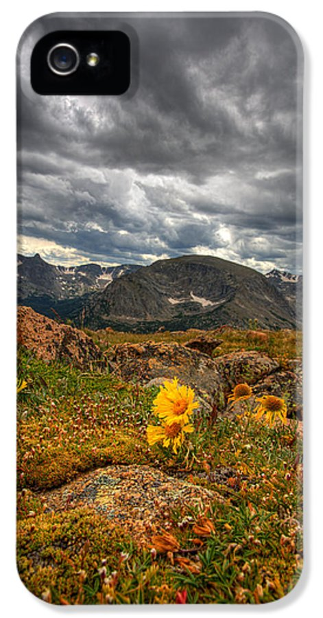 Clouds IPhone 5 / 5s Case featuring the photograph 12000 Foot Flower by Peter Tellone