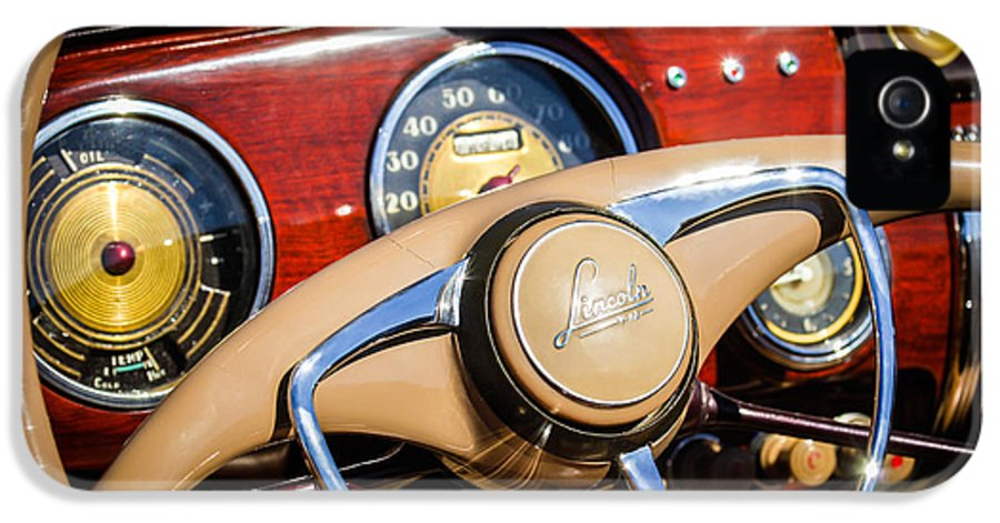 Car IPhone 5 / 5s Case featuring the photograph 1941 Lincoln Continental Cabriolet V12 Steering Wheel by Jill Reger