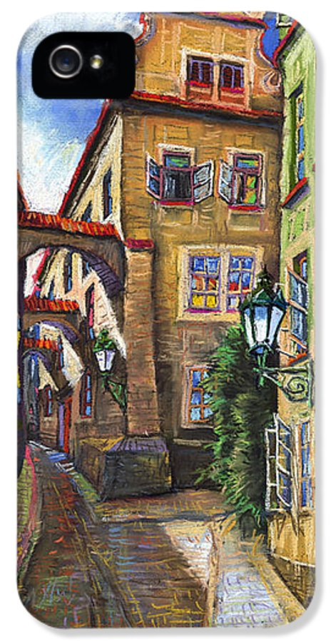 Prague IPhone 5 / 5s Case featuring the painting Prague Old Street by Yuriy Shevchuk