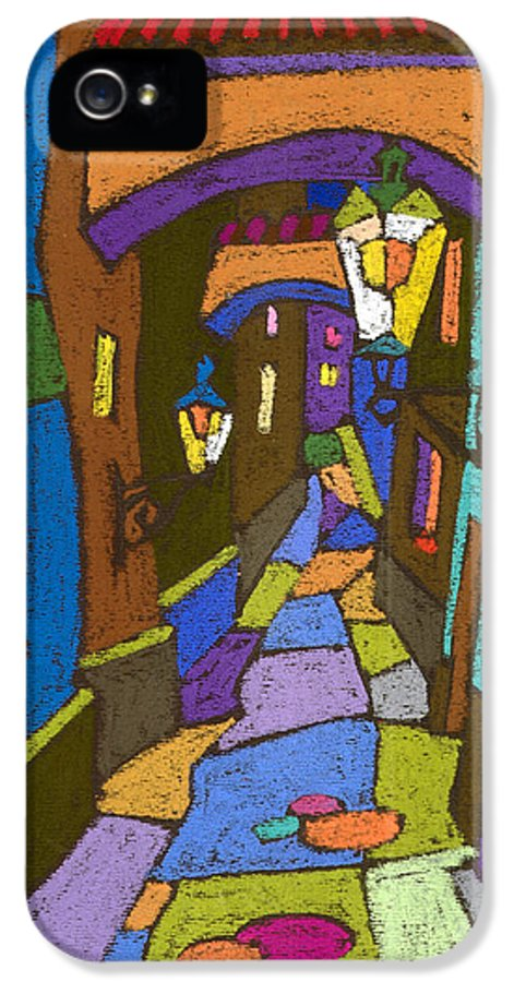 Pastel IPhone 5 / 5s Case featuring the painting Prague Old Street by Yuriy Shevchuk