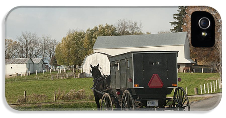 Amish IPhone 5 / 5s Case featuring the photograph Amish Buggy by David Arment