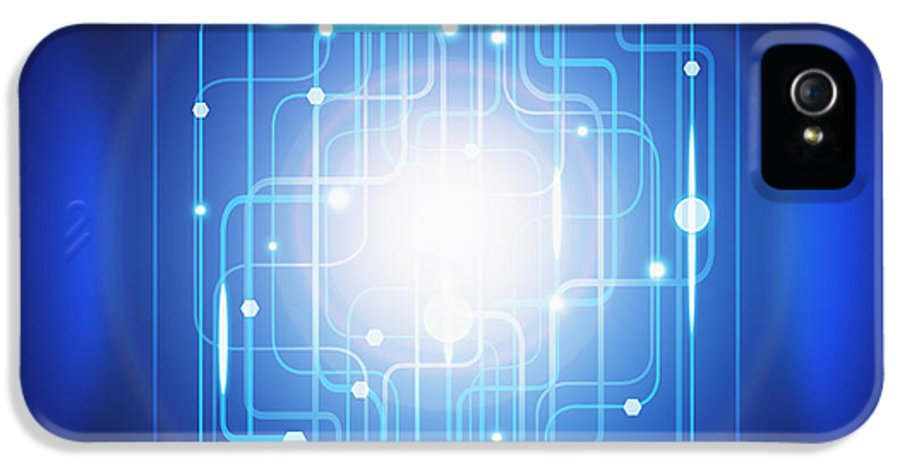 Abstract IPhone 5 / 5s Case featuring the photograph Abstract Circuit Board Lighting Effect by Setsiri Silapasuwanchai