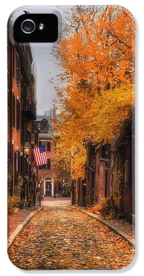 Boston IPhone 5 / 5s Case featuring the photograph Acorn St. by Joann Vitali