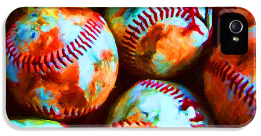 Baseball IPhone 5 / 5s Case featuring the photograph All American Pastime - Pile Of Baseballs - Painterly by Wingsdomain Art and Photography
