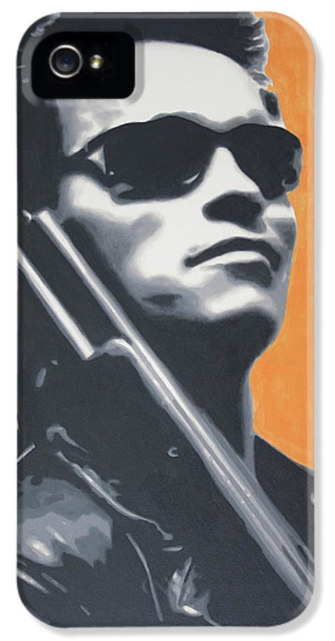 Ludzska IPhone 5 / 5s Case featuring the painting Arnold Schwarzenegger 2013 by Luis Ludzska