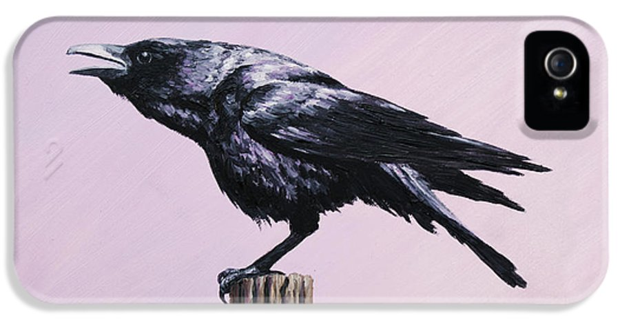 Crow IPhone 5 / 5s Case featuring the painting Crow - Sounding Off by Crista Forest