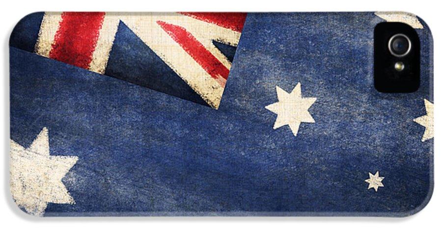 Abstract IPhone 5 / 5s Case featuring the photograph Australia Flag by Setsiri Silapasuwanchai