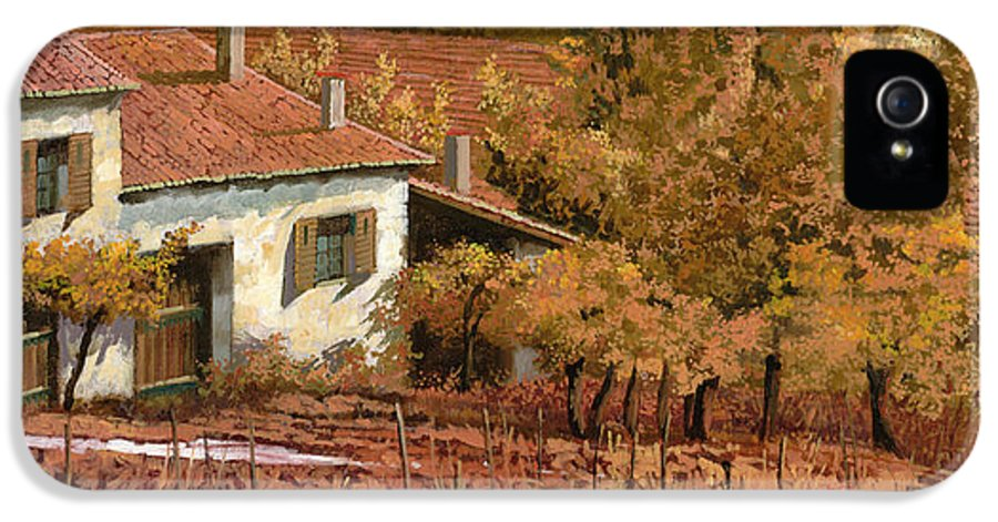 Autumn IPhone 5 / 5s Case featuring the painting Autunno Rosso by Guido Borelli