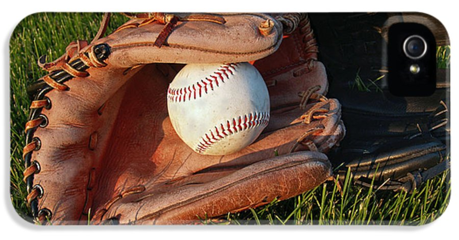 Baseball IPhone 5 / 5s Case featuring the photograph Baseball Gloves After The Game by Anna Lisa Yoder