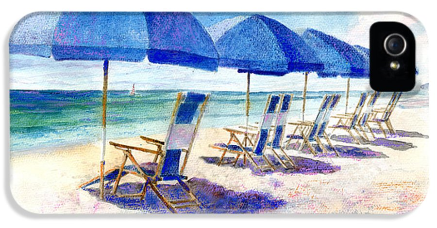 Beach IPhone 5 / 5s Case featuring the painting Beach Umbrellas by Andrew King