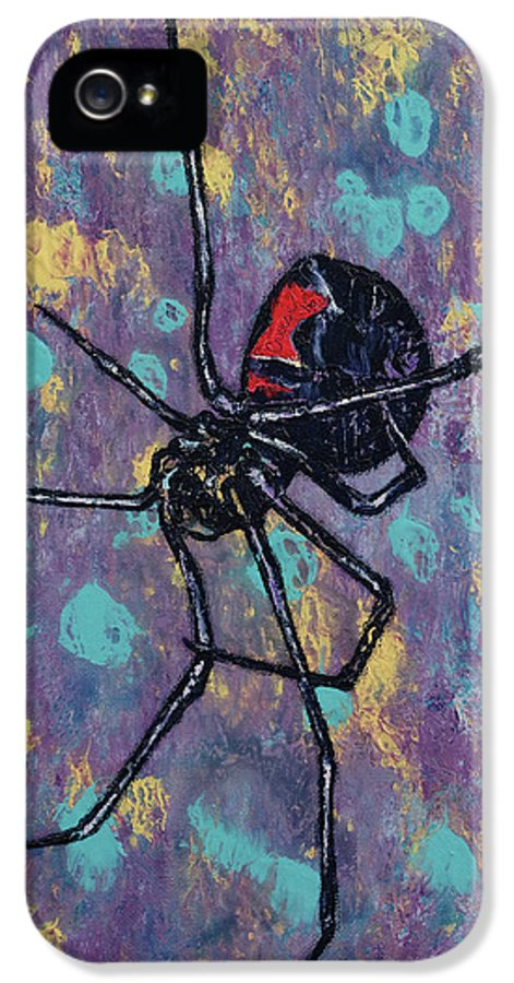 Abstract IPhone 5 / 5s Case featuring the painting Black Widow by Michael Creese