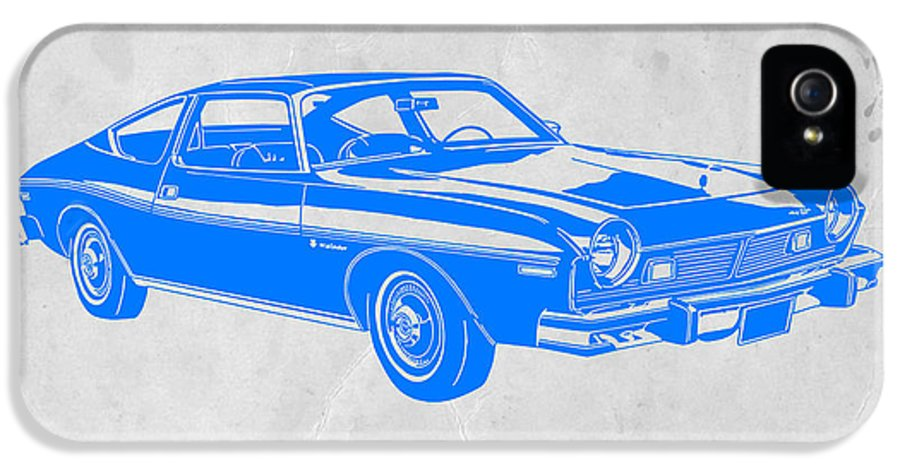 IPhone 5 / 5s Case featuring the drawing Blue Muscle Car by Naxart Studio