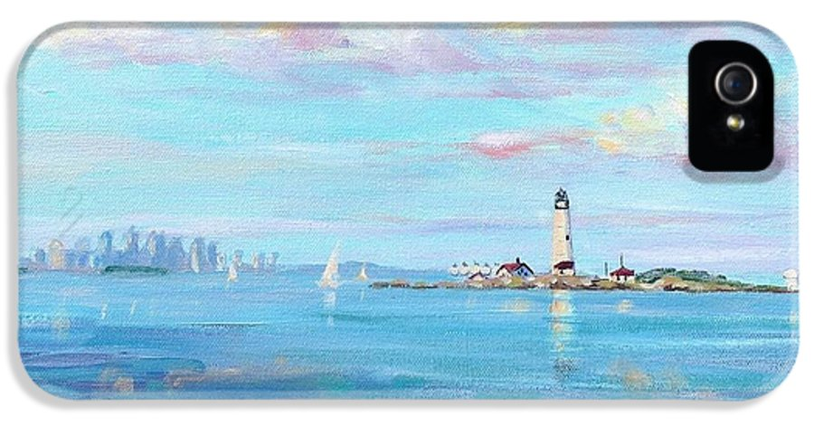 Seascape IPhone 5 / 5s Case featuring the painting Boston Skyline by Laura Lee Zanghetti