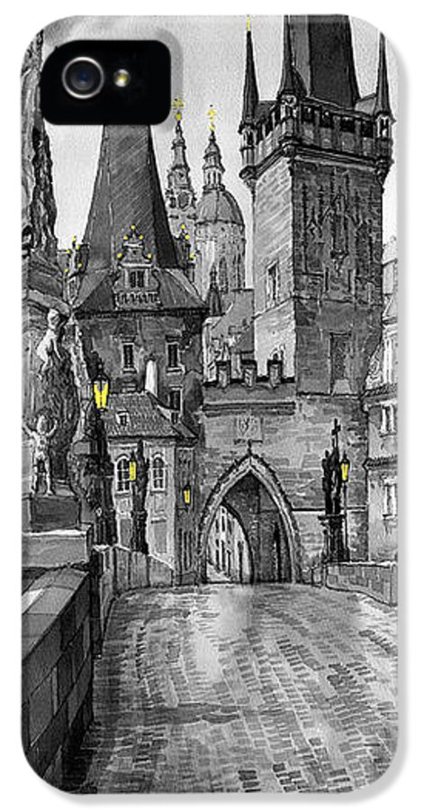 Prague IPhone 5 / 5s Case featuring the painting Bw Prague Charles Bridge 02 by Yuriy Shevchuk
