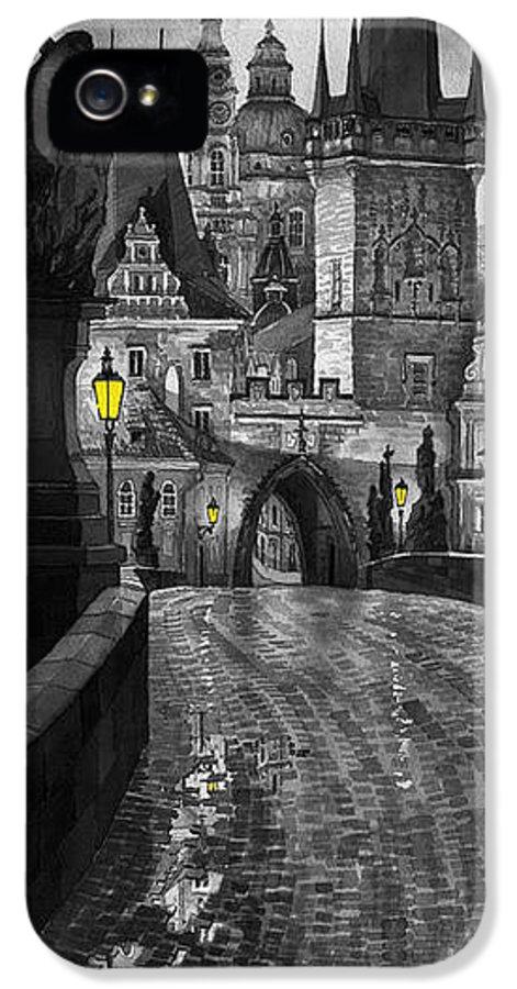 Prague IPhone 5 / 5s Case featuring the painting Bw Prague Charles Bridge 03 by Yuriy Shevchuk
