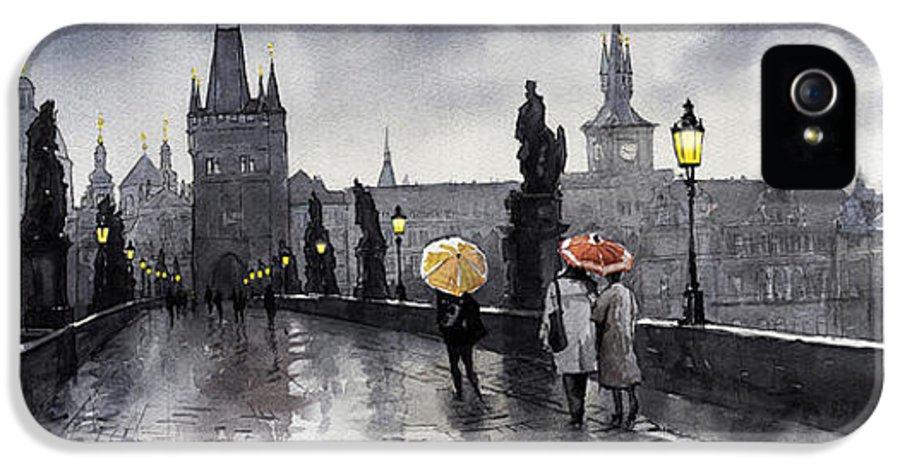 Prague IPhone 5 / 5s Case featuring the painting Bw Prague Charles Bridge 05 by Yuriy Shevchuk